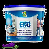 Краска ЕКО 1,3кг снежнобелая, моющаяся, акриловая для стен и потолков, без запаха, фото 1