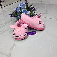 Закрытые тапочки единорог розовый