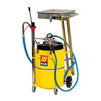 Пневматическая установка для слива и откачки масла с подкатной ванной 65 литров