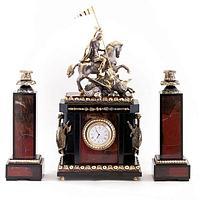 Каминные часы с подсвечниками «Георгий Победоносец» яшма