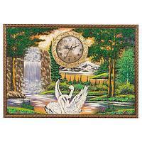 Часы с картиной «Лебеди» 45х65 см