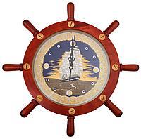 Гравюра на стали - Часы «Свежий ветер» в штурвале