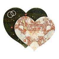 Настенные часы «Два сердца» змеевик, мрамор