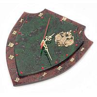 Настенные часы «Щит» бронза змеевик