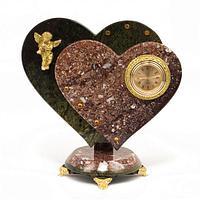 Часы «Два сердца с ангелом» креноид змеевик