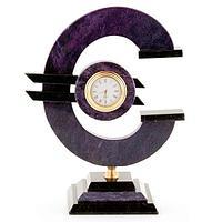 Часы «Евро» большие змеевик темно-сиреневый