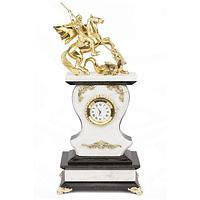 Часы «Георгий Победоносец» мрамор змеевик бронза - 320 мм.