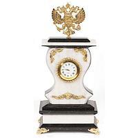 Часы «Герб» мрамор змеевик бронза