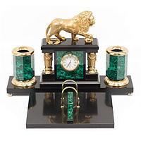 Настольный набор «Лев» (вариант 2), малахит позолота