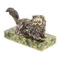 Статуэтка «Кошка лежащая» (вариант 2), бронза змеевик