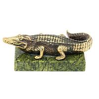 Статуэтка «Крокодил» большой бронза змеевик