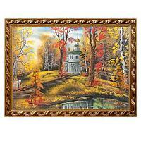 Картина «Церковь в осеннем лесу», багет - 50х70 см.