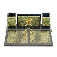 Настольный набор с гербом России (вариант 2), камень змеевик