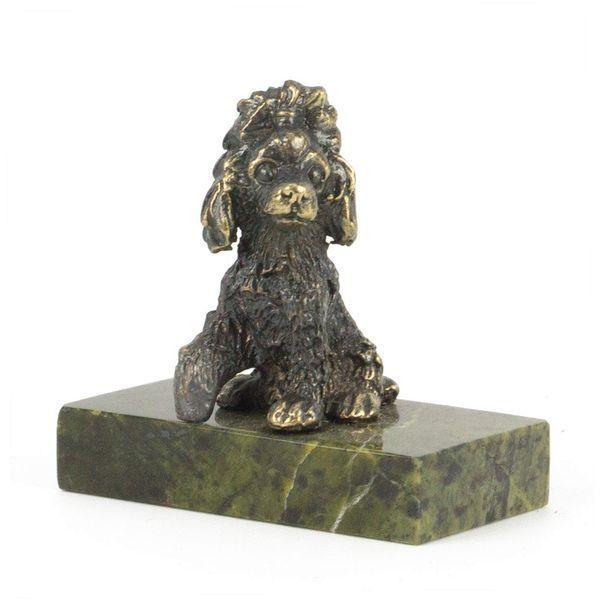 Статуэтка «Собачка малая бронза змеевик 25х50х50 мм. - фото 1