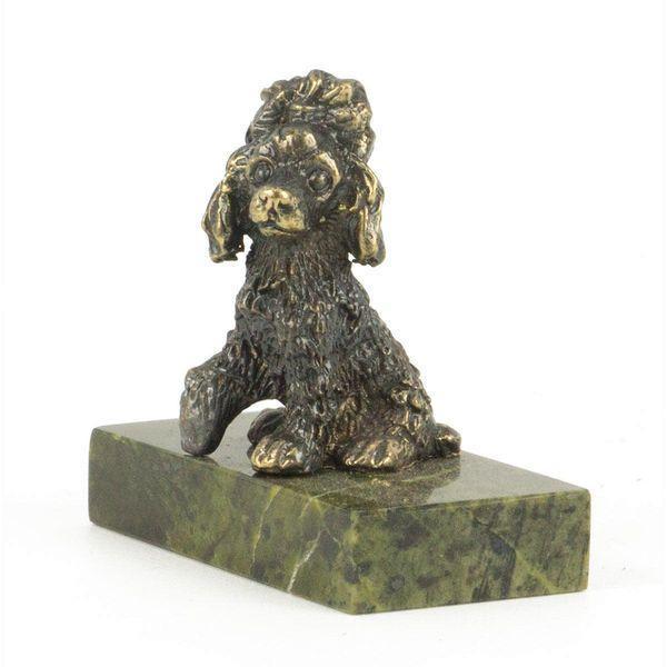 Статуэтка «Собачка малая бронза змеевик 25х50х50 мм. - фото 2