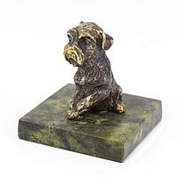Статуэтка «Собака» бронза змеевик 40х40х50 мм.