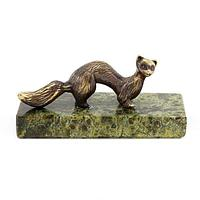 Статуэтка «Соболь» бронза змеевик