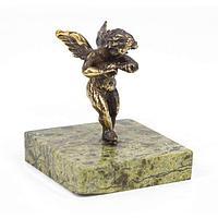 Статуэтка «Танцующий ангел» бронза змеевик 50х50х50 мм.