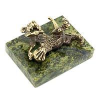 Статуэтка «Тигр с мячом» бронза змеевик