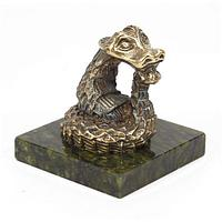 Статуэтка «Удав» бронза змеевик 50х50х55 мм.