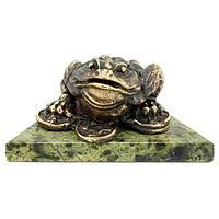 Статуэтка «Жаба на деньгах» бронза змеевик