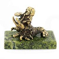 Статуэтка знак зодиака «Рак» бронза змеевик