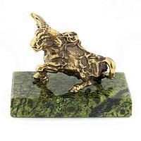 Статуэтка знак зодиака «Телец» бронза змеевик