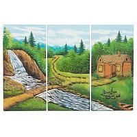Картина модульная на МДФ «Домик у водопада» (40х60 см)