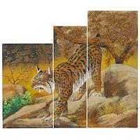Картина модульная на МДФ «Рысь» 70х80 см