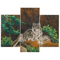 Картина модульная на МДФ «Волки» 70х90 см