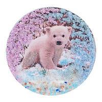 Магнит с рисунком «Медвежонок» змеевик 110х110 мм.