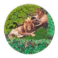 Магнит с рисунком «Пара львов» змеевик 110х110 мм.