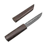 """Нож из дамасской стали """"Якутский"""" средний с рукоятью и ножнами из венге"""