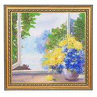 Картина «Солнечный пейзаж с цветами» багет 30х30 см А65