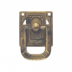 Ручка-кольцо, *Jugendstil* 33х50мм, латунь пат., квадр. накл., винт,гвоздь