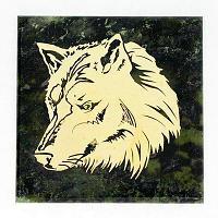 Магнит «Волк» (вариант 2), камень змеевик
