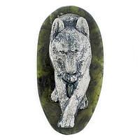 Магнит «Волк», камень змеевик