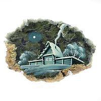 Магнит «Зимний вечер», камень змеевик