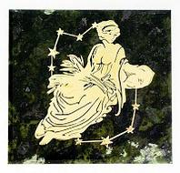 Магнит знак зодиака «Дева», камень змеевик