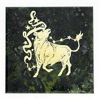 Магнит знак зодиака «Телец», камень змеевик