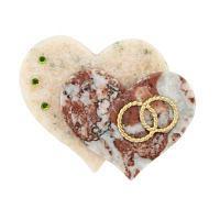 Сувенир на магните «Два сердца с кольцами», камень мрамор