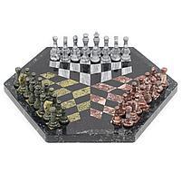 "Шахматы из камня ""На троих"" змеевик, мрамор, креноид 44х44см"
