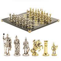 """Шахматы из камня подарочные """"Римские воины"""" змеевик, фигурки бронза 45х45см"""