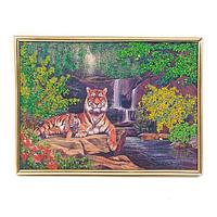 Панно «Тигры у водопада»