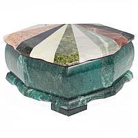 Шкатулка Лепесток с мозаикой креноид змеевик офиокальцит мрамор 200х160х90 мм 2250 гр.