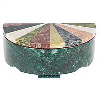 Шкатулка Овал с мозаикой креноид змеевик офиокальцит мрамор 200х190х80 мм 1750 гр.