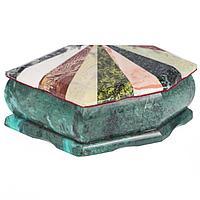 Шкатулка Ракушка с мозаикой креноид змеевик офиокальцит мрамор 190х115х65 мм 1200 гр.