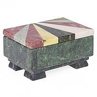 Шкатулка с мозаикой креноид змеевик офиокальцит мрамор 120х85х65 мм 800 гр.