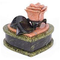 Шкатулка для украшений «Роза», камень змеевик, мрамор