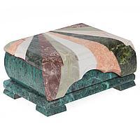 Шкатулка с мозаикой креноид змеевик офиокальцит мрамор 175х110х80 мм 850 гр.